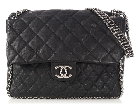 Chanel Maxi Black Quilted Distressed Lambskin Chain Around
