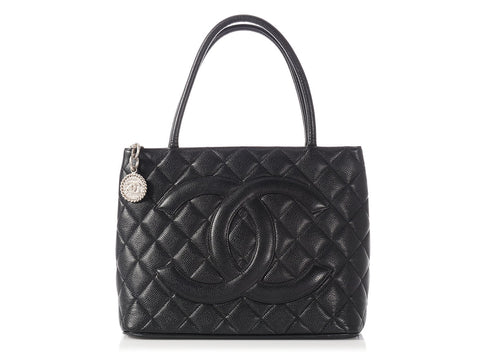 Chanel Black Quilted Caviar Medallion Tote