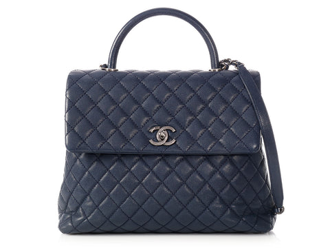 Chanel Maxi Navy Quilted Caviar Coco Handle