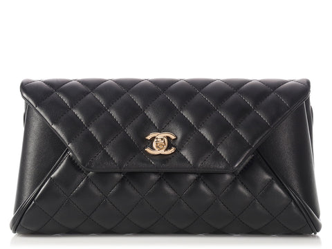 Chanel Black Part-Quilted Lambskin Fold Up Again Clutch