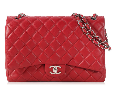 Chanel Maxi Rouge Foncé Quilted Caviar Classic Double Flap