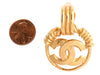 Chanel Vintage Logo Door Knocker Clip Earrings