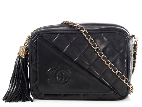 Chanel Mini Vintage Black Quilted Lambskin Tassel Camera Case