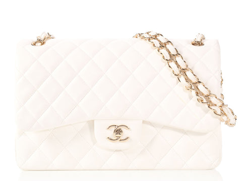 Chanel Jumbo White Quilted Lambskin Classic Double Flap