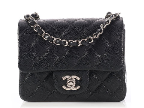 Chanel Mini Black Quilted Caviar Square Classic