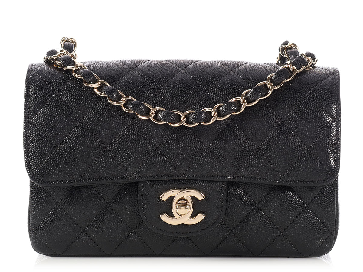 Chanel Mini Black Quilted Caviar Classic Rectangle