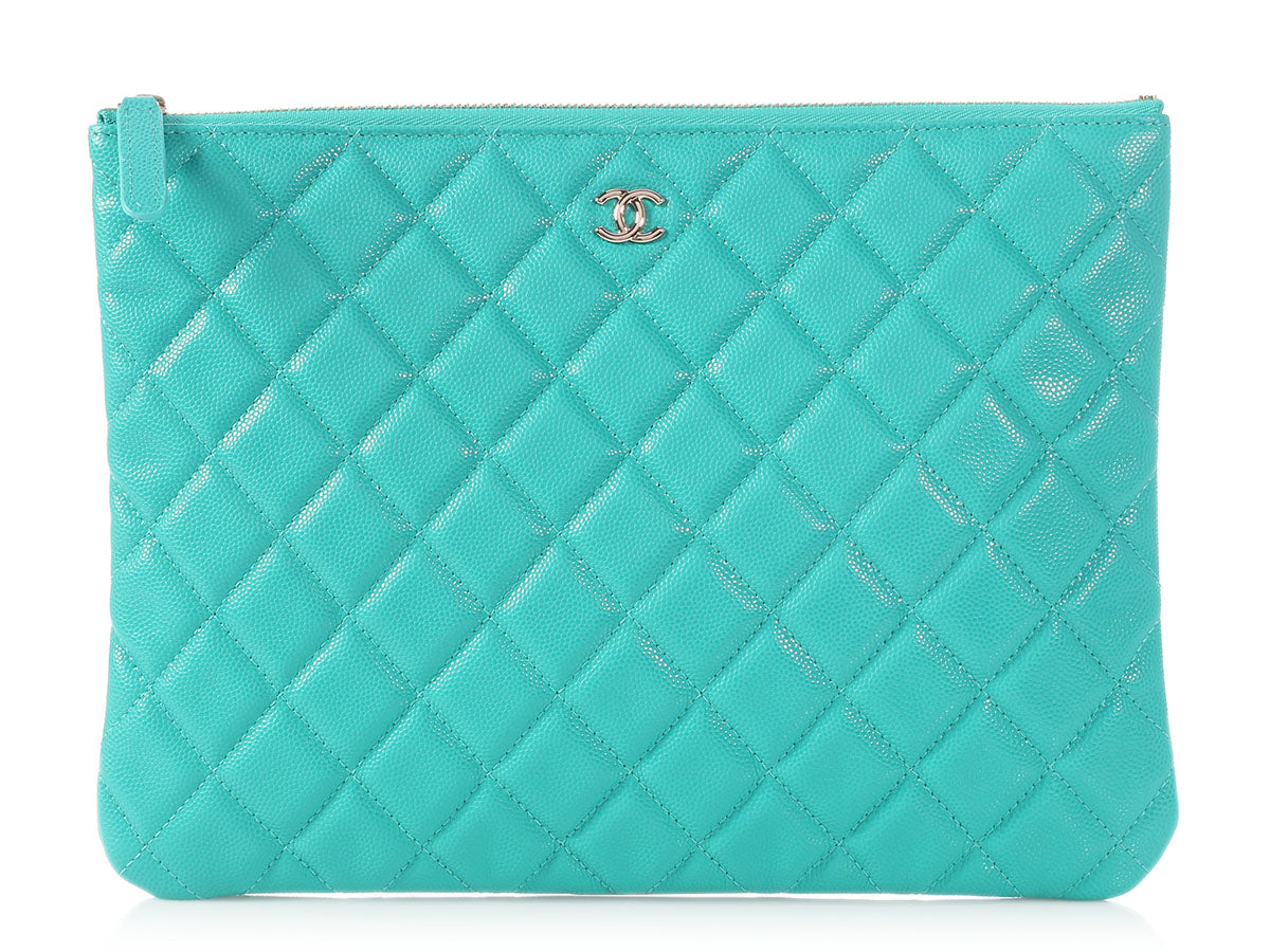 Chanel Medium Turquoise Quilted Caviar O Case