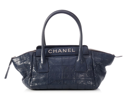 Chanel Small Navy Quilted Calfskin LAX Tote