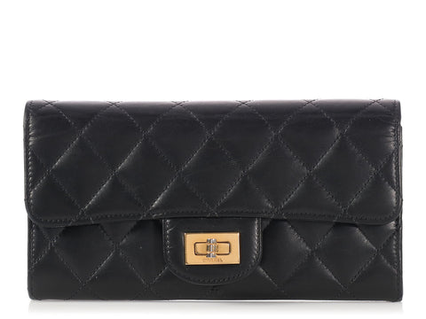 Chanel Long Black Distressed Quilted Lambskin Reissue Flap Wallet