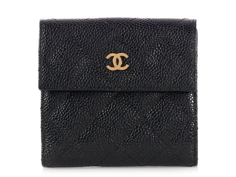 Chanel Compact Black Quilted Caviar Flap Wallet