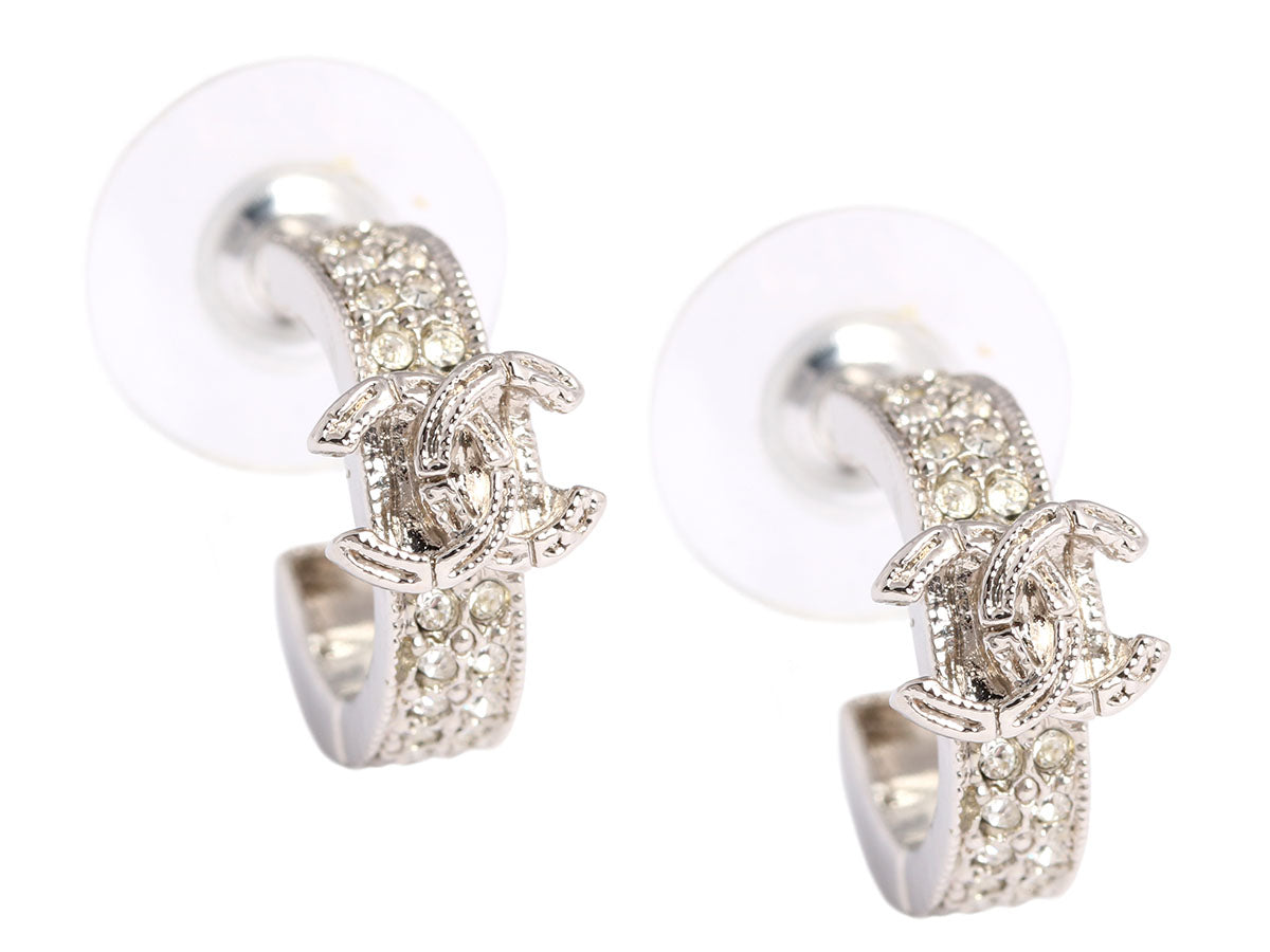 Chanel CC Logo Crystal Earrings