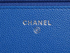 Chanel Bright Blue Chevron Quilted Caviar Wallet on a Chain WOC