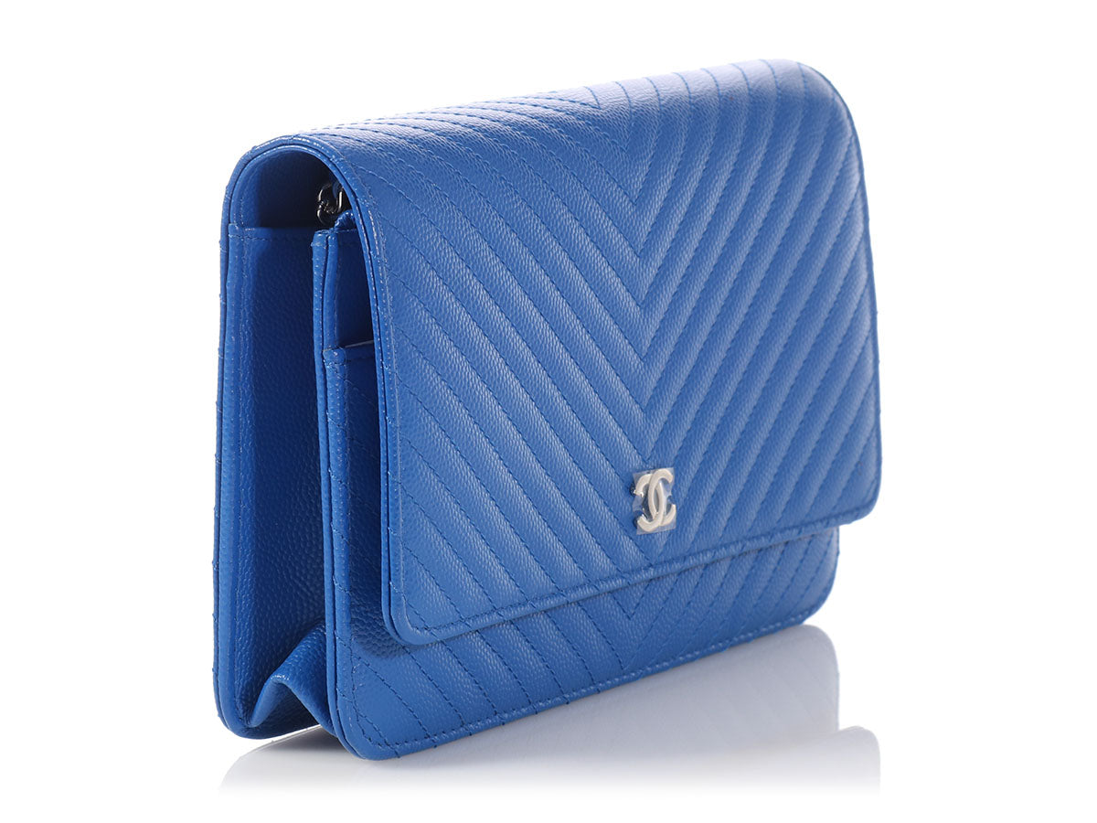 7b657127b393 Chanel Bright Blue Chevron Quilted Caviar Wallet on a Chain WOC