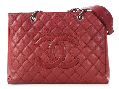 Chanel Brick Red Caviar Grand Shopping Tote GST