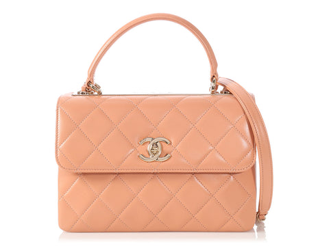 Chanel Small Beige Clair Quilted Lambskin Trendy