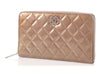 Chanel Large Khaki Patent L-Zip Wallet