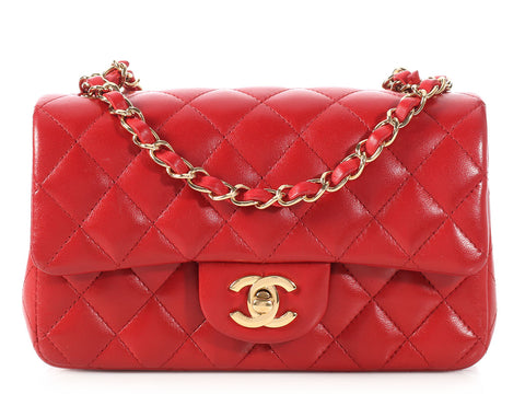 Chanel Mini Red Quilted Lambskin Classic Single Flap