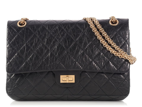 Chanel Black Distressed Quilted Calfskin Reissue 226