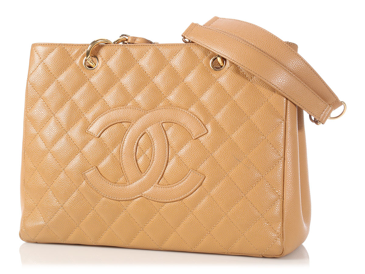a5b5a68ddfc9fc Chanel Beige Quilted Caviar Grand Shopping Tote GST
