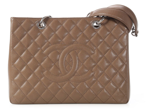 Chanel Taupe Quilted Caviar Grand Shopping Tote GST