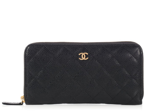 Chanel Black Quilted Caviar Long Zip Wallet