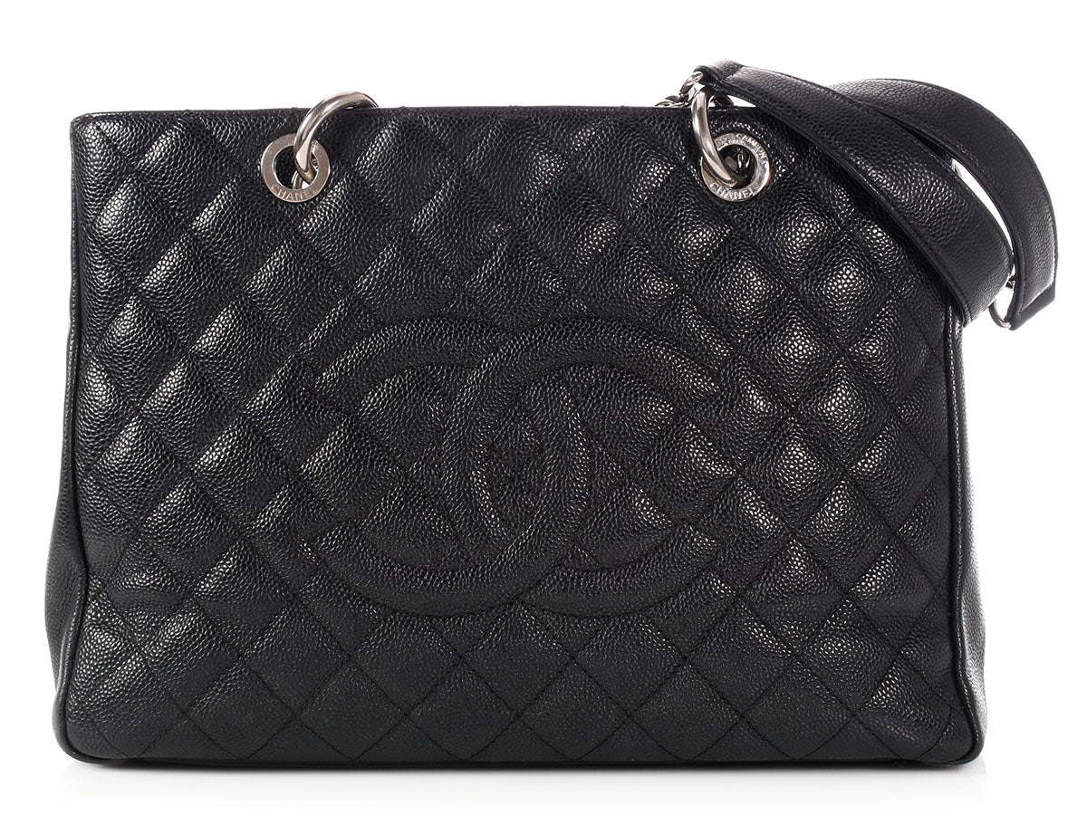 Chanel Black Part Quilted Caviar Grand Shopping Tote GST
