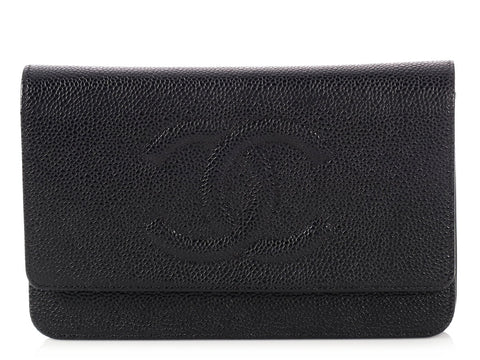 Chanel Black Caviar Timeless Wallet on a Chain WOC