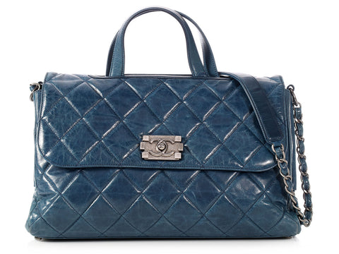 Chanel Blue Quilted Distressed Calfskin Convertible Boy Tote