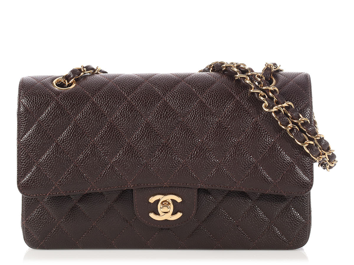 Chanel Medium/Large Brown Quilted Caviar Classic Double Flap
