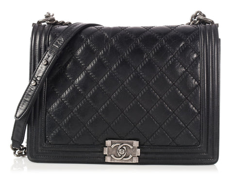 Chanel Large Black Quilted Lambskin Boy Bag