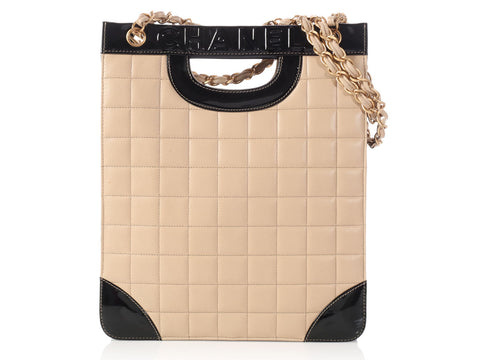 Chanel Black Patent and Quilted Beige Lambskin Vertical Tote