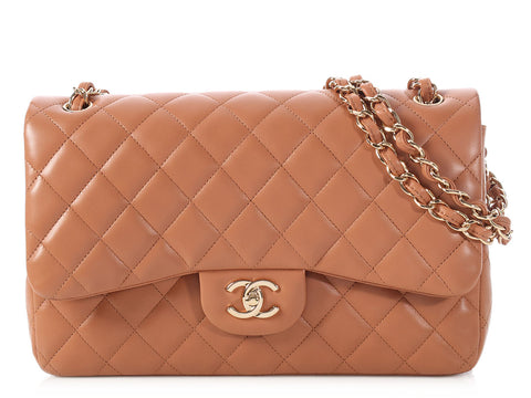 Chanel Jumbo Camel Quilted Lambskin Classic Double Flap