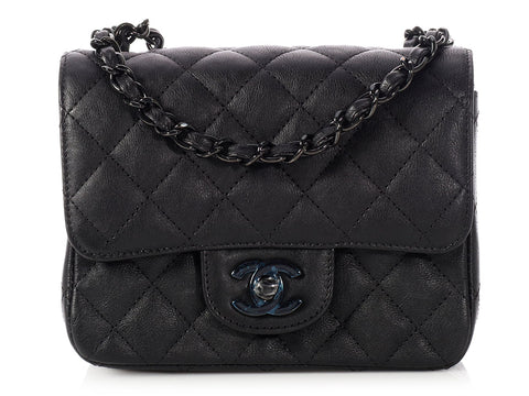 Chanel Mini So Black Quilted Distressed Calfskin Square Classic