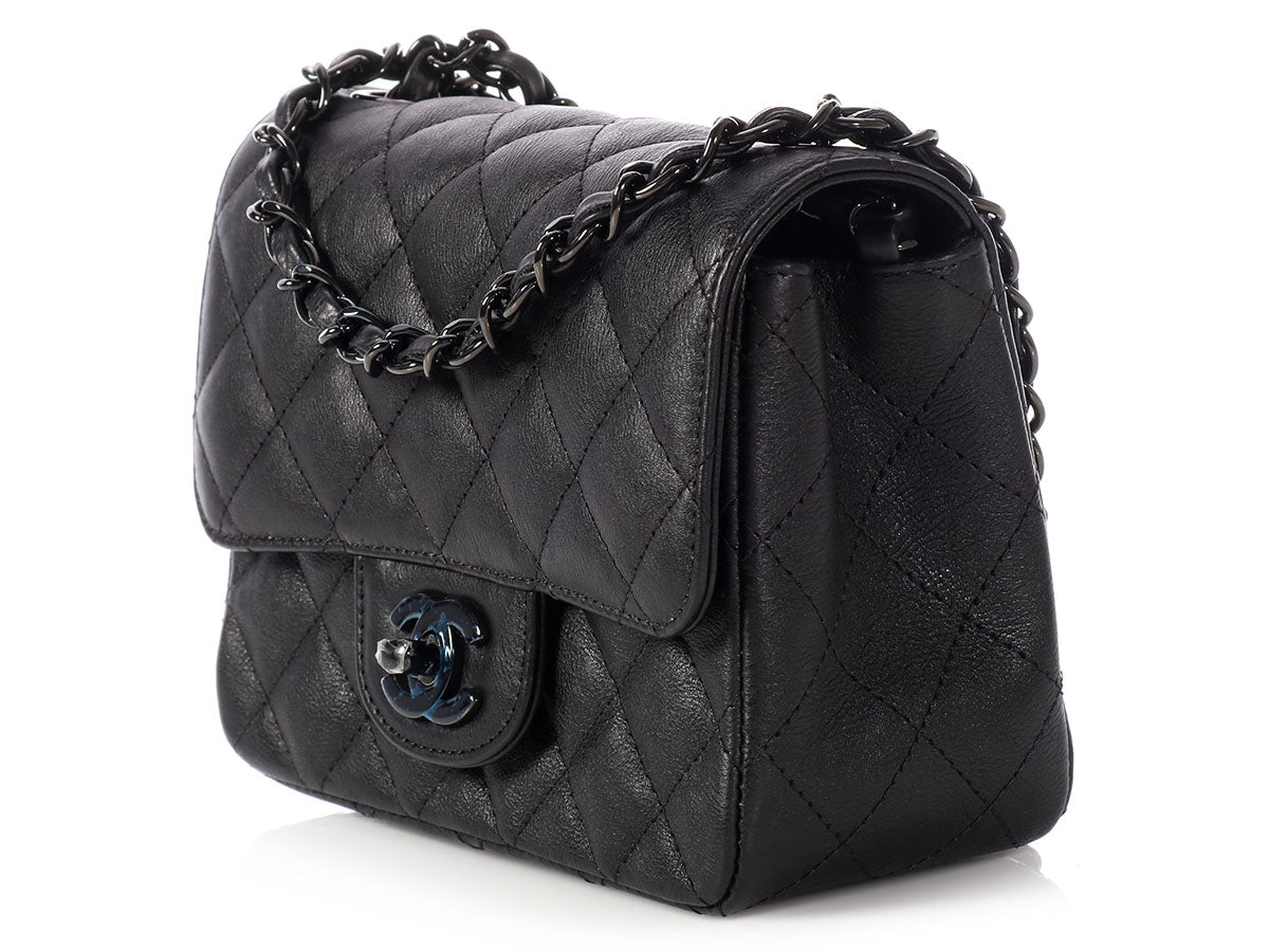 Chanel Mini So Black Quilted Distressed Calfskin Square Classic 6068651b6f