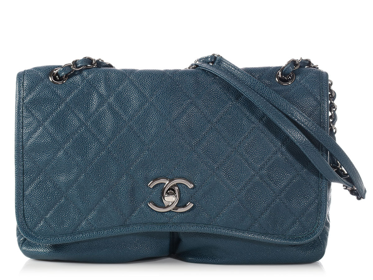Chanel Blue Part Quilted Soft Caviar Pocket Flap