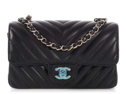 Chanel Mini Black Chevron Quilted Lambskin Classic Single Flap