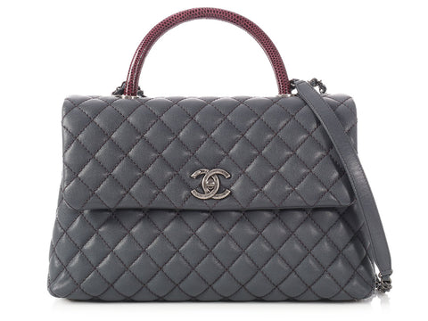 Chanel Medium Gray Caviar and Burgundy Lizard Coco Handle