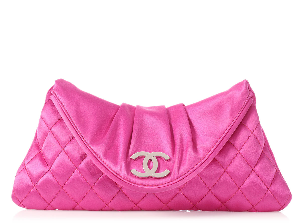 Chanel Pink Part-Quilted Satin Logo Clutch