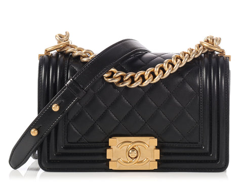 Chanel Small Black Quilted Lambskin Boy Bag