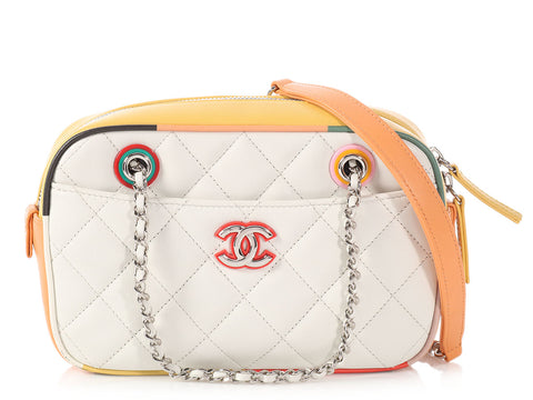 Chanel White Quilted Lambskin Cuba Camera Case