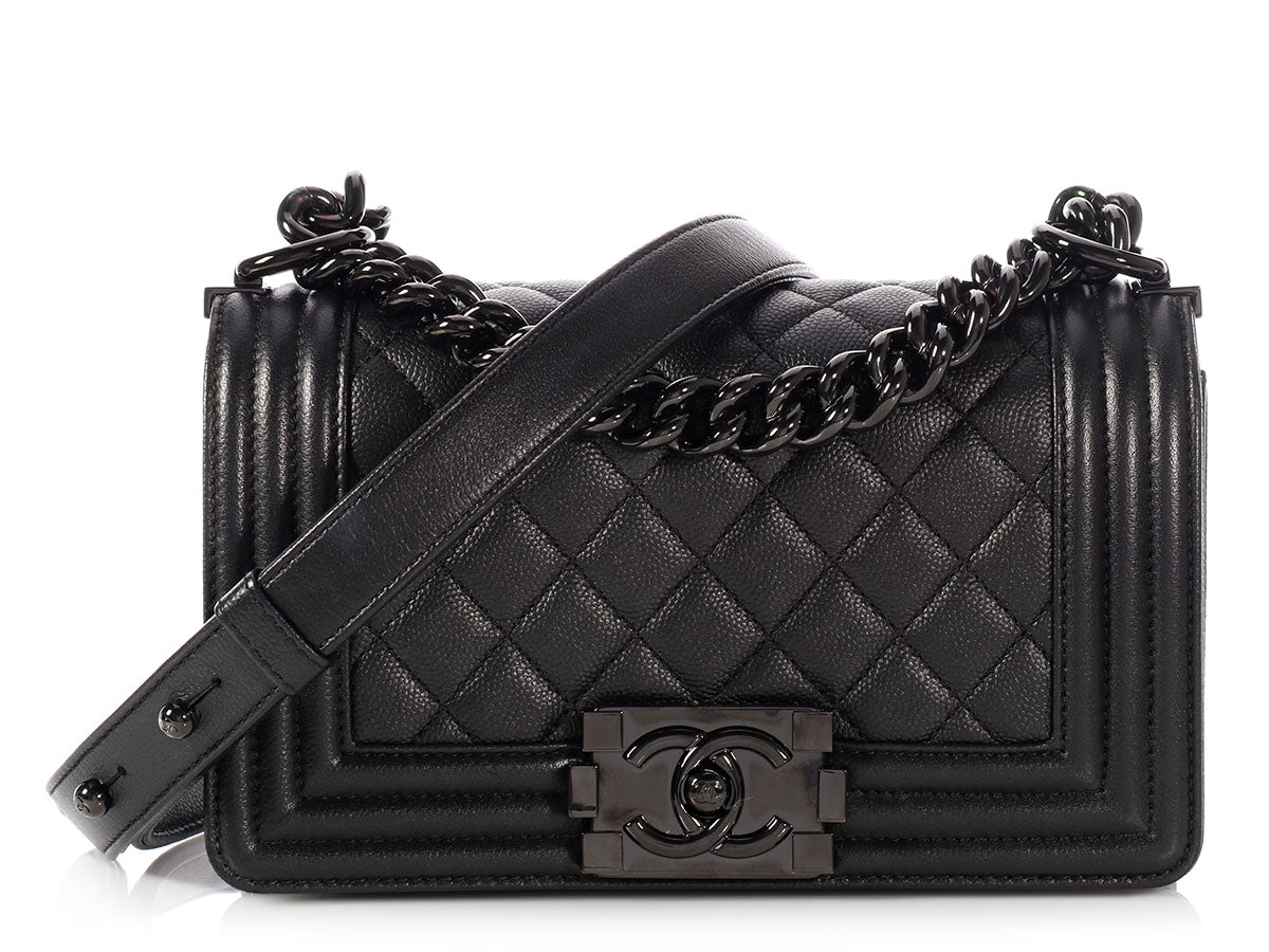 fc359babba81 Chanel Small So Black Quilted Caviar Boy Bag