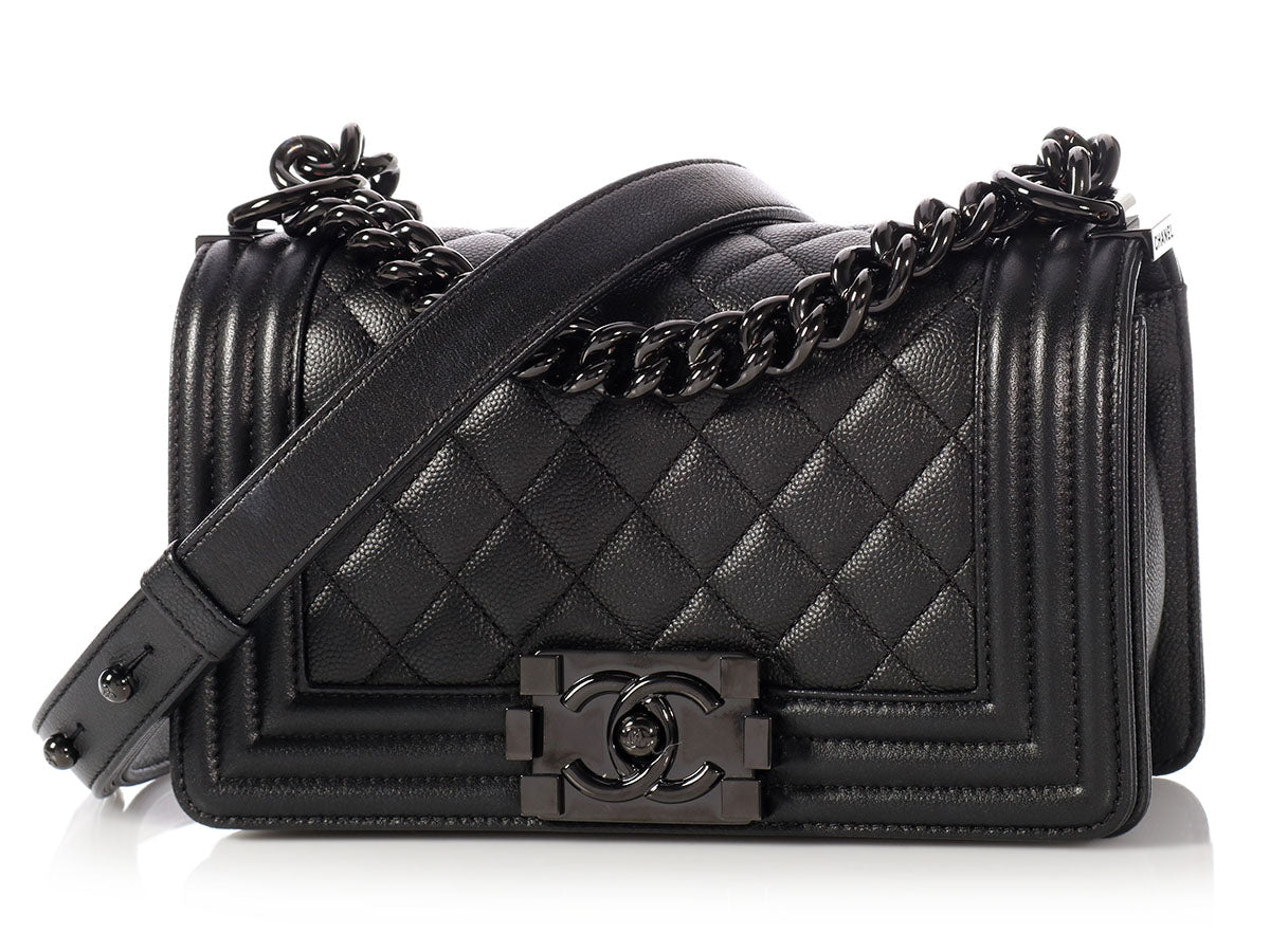 d22fe862419 Chanel Small So Black Quilted Caviar Boy Bag
