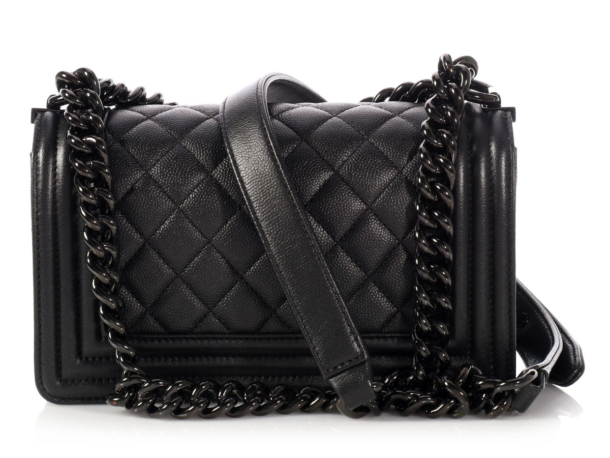 45ba31c6619c06 Chanel Small So Black Quilted Caviar Boy Bag