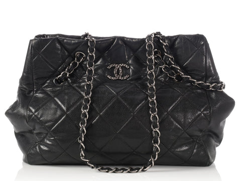 Chanel Black Soft Quilted Caviar Cells Tote