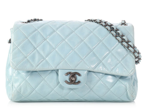 Chanel Sky Blue Distressed Quilted Calfskin Flap