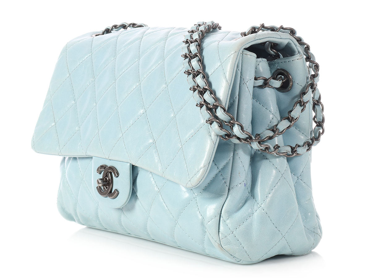 da4916a64f00 Chanel Sky Blue Distressed Quilted Calfskin Flap