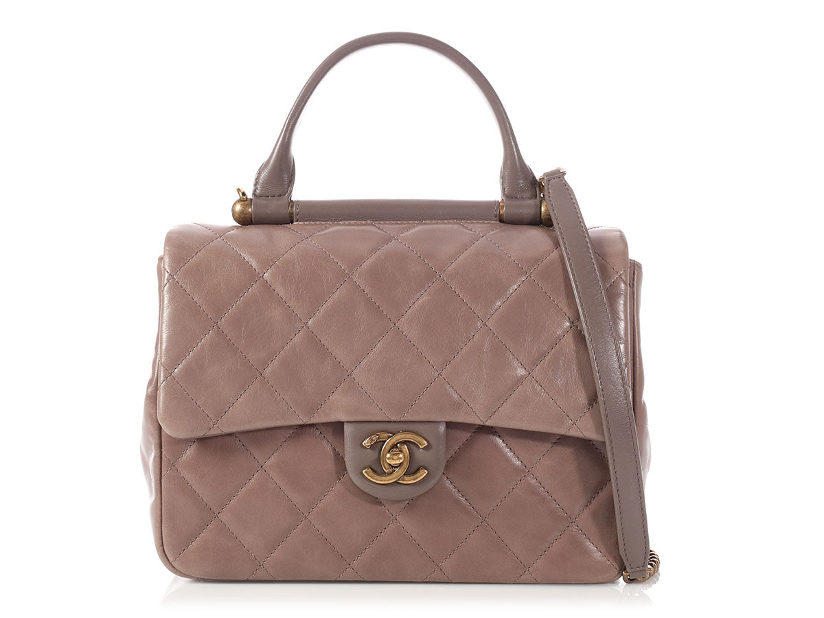 Chanel Dark Gray and Taupe Quilted Calfskin Gold Bar Flap