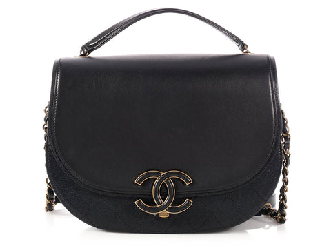 Chanel Black Part Quilted Calfskin Messenger Flap Bag