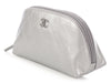 Chanel Silver Quilted Distressed Calfskin Cosmetic Bag