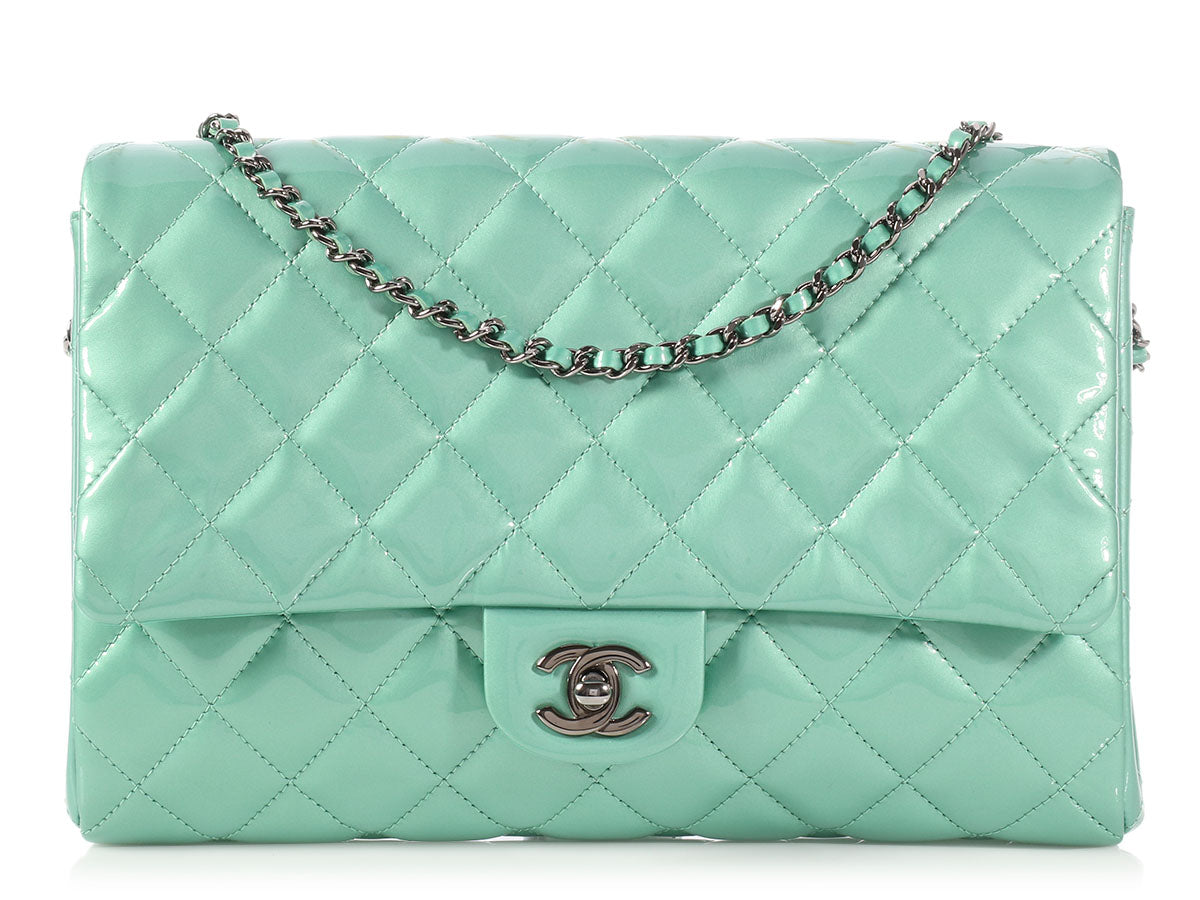 Chanel Mint Green Quilted Patent Flap